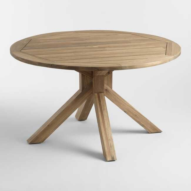 Round Natural Wood Vallarta Outdoor Dining Table Dining Table