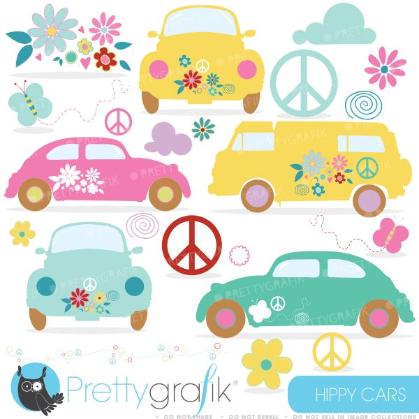Hippie Cars Clipart- great for invitations, embroidery, scrapbooking and crafts.