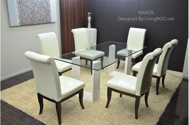 2000mm Travertine Stone Marble Dining Table & Tempered Glass - NAXOS