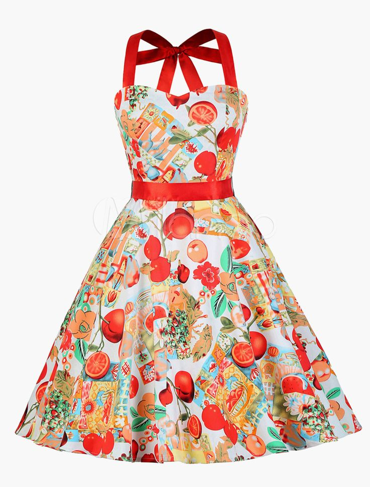 Cute Vintage Swing Dress With All Over Floral Print