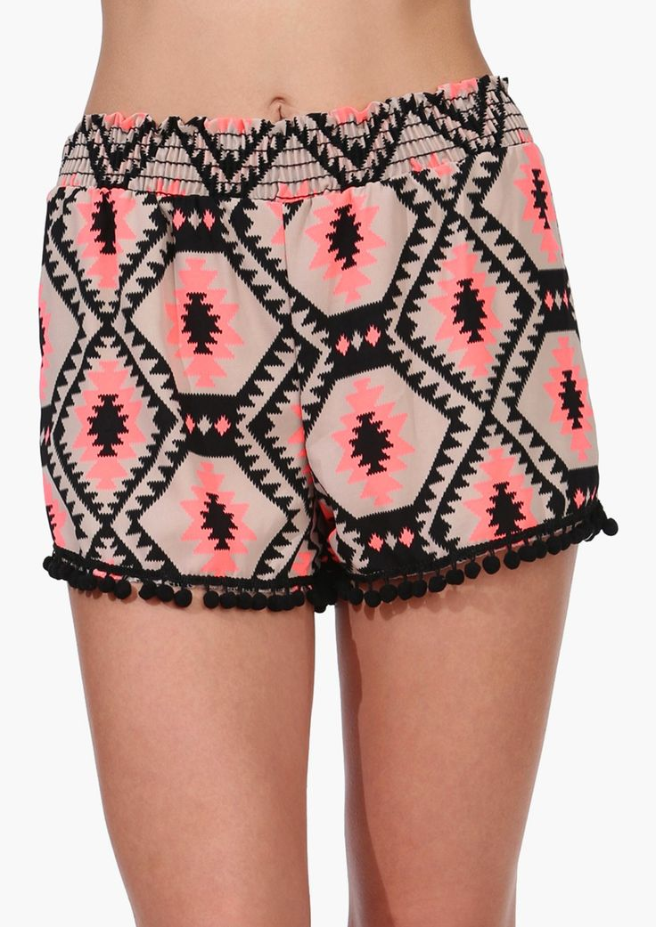 love the Aztec print on these pom pom shorts!