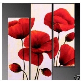 RED POPPY 3 PIECE ART CANVAS / floral 3 piece art canvas  /  Modern abstract art oil paintings - brilliant poppies ($45.00)