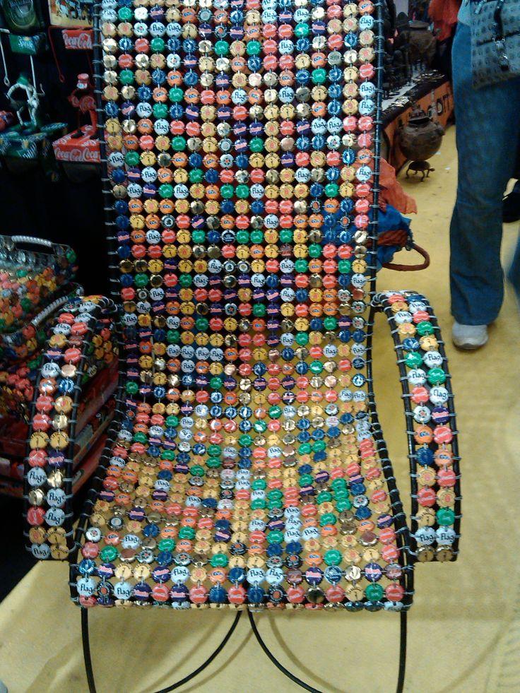 Fauteuil en capsules de bouteilles vu la foire de paris 2014 d but mai au pavillon du monde - Table a repasser foire de paris ...
