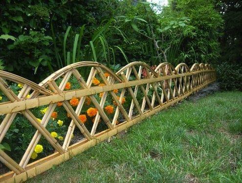 FENCING Living bamboo forms a beautiful natural divider, but that may be more than you'd like to maintain. For you, a garden fence of bamboo may be the ticket. Compared to other wood fencing materials, termite-resistant bamboo is highly durable.