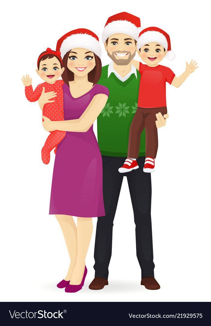 Christmas Family Portrait Vector Image On Em 2020 Fotos Mae E Filho Foto Mae Desenhos