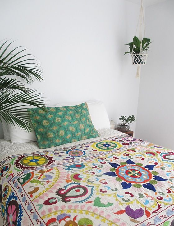 Create yourself a tropical bedroom with our Kantha Pillows and Suzani throws.
