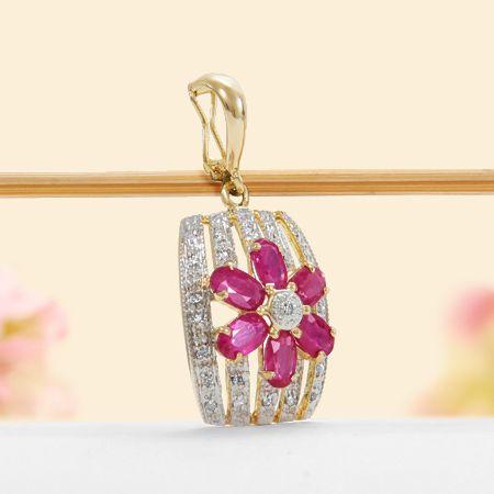 14k Yellow Gold Diamond, Ruby Flower Enhancer Pendant