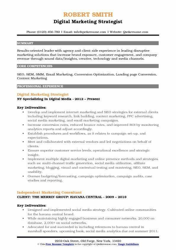 Digital Marketing Resume Example Famous Digital Strategy Resume Seven Important Facts That Yo Marketing Resume Business Analyst Resume Job Resume Samples
