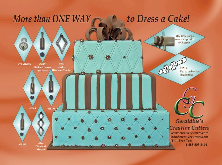 More than ONE WAY to dress a cake with our amazing tools! For more information on our products visit our website www.creativecutters.com NOW!  American Cake Decorating Magazine Ad. January - February 2015 Issue Cake made by Geraldine Randlesome from Creative Cutters.