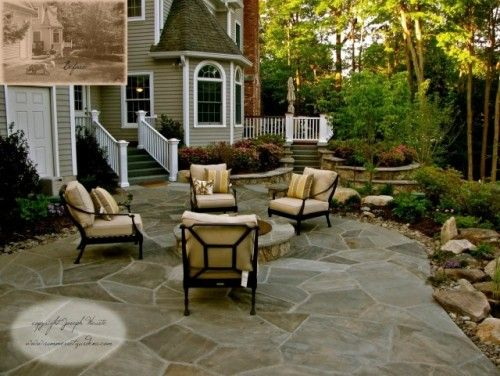 find this pin and more on stone patio concepts - Stone Patio Designs With Fire Pit