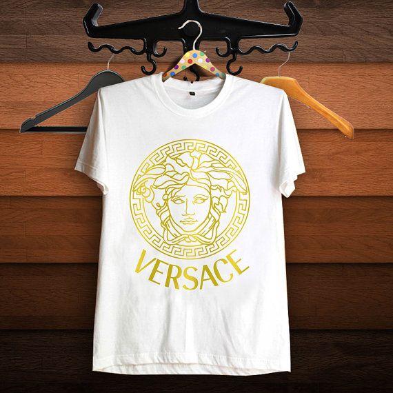 Versace gold logo t shirt women t shirt superbrand by for Versace t shirts women