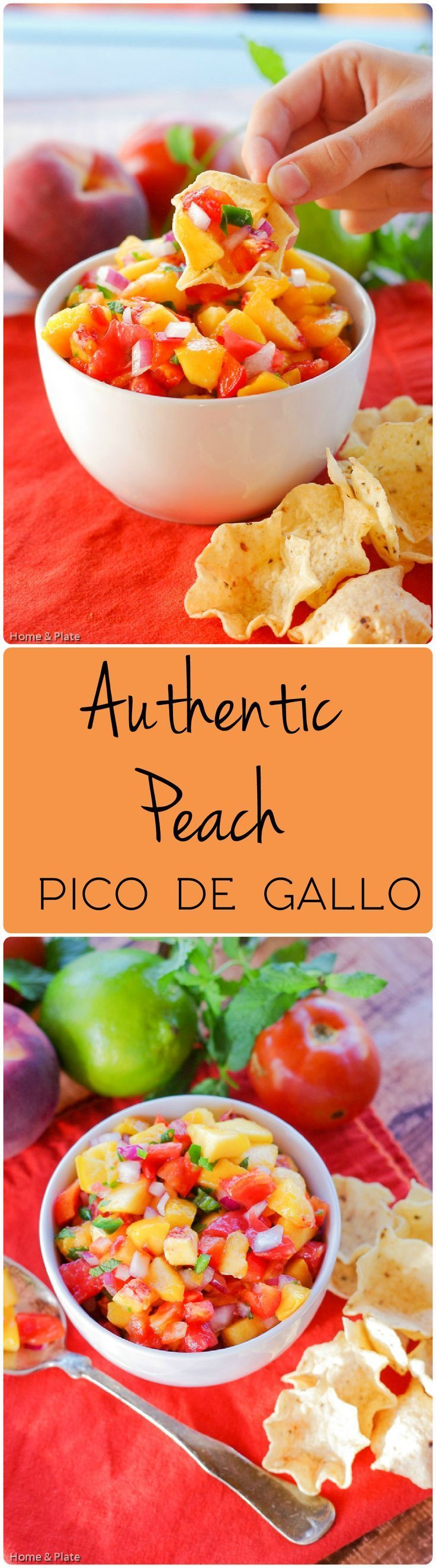 Authentic Peach Pico de Gallo   Home & Plate   www.homeandplate.com   Bring authentic Mexican flavors to your table this evening with this delicious Peach salsa.