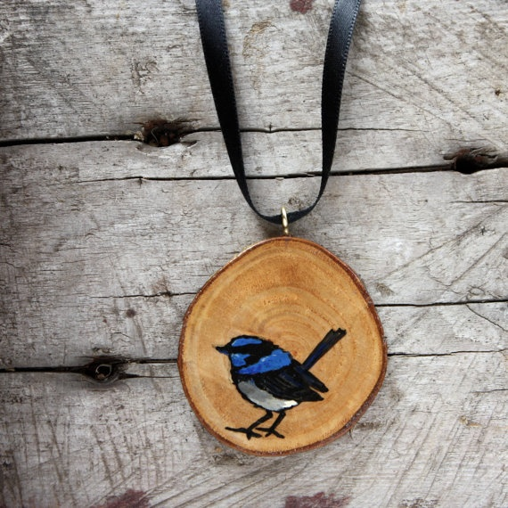 Handpainted Blue Wren Pendant  Made in Australia by trees4thewood, $30.00