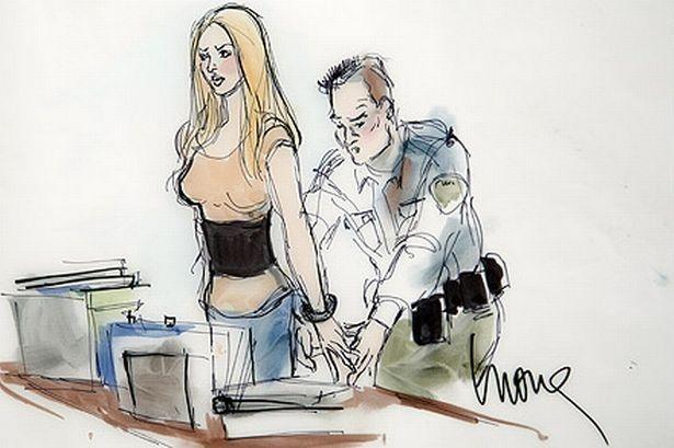 Lindsay Lohan courtroom sketch (Pic:AP)