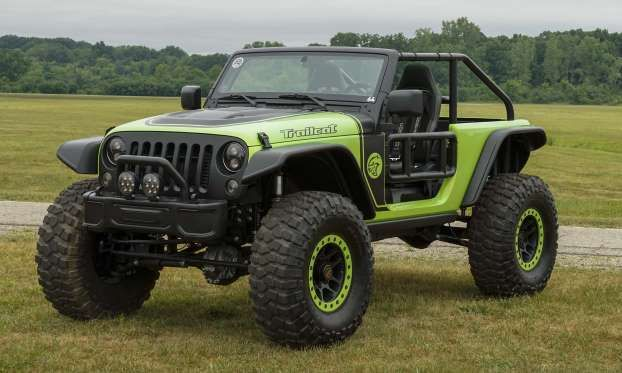 If the Jeep Wrangler is the ultimate off-roader and the Hellcat engine one of the most powerful on the road, then the Trailcat combines these to create the ultimate off-road machine. At the heart of this Jeep is a 6.2-liter supercharged HEMI V8 engine putting out a massive 707 horsepower, teamed with a 6-speed manual transmission. All that power makes plenty of dust with 17-inch beadlock wheels and 39.5-inch BFGoodrich Krawler T/A KX tires, front and rear Dana 60 axles and Fox shocks.