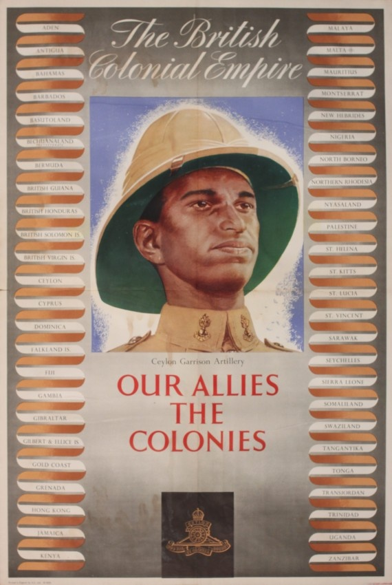 British Poster: The British Colonial Empire - Ceylon Garrison Artillery - Our Allies the Colonies