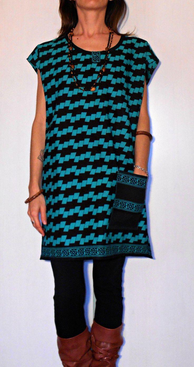 Tunic, blouse, handmade, ethnic, clothing, geometric, floral, pattern, trending, bohemian, turquoise, black, pocket, one size, large, easy di ITINLab su Etsy
