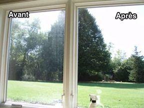 des vitres sales et des vitres propres sans traces avant et après nettoyage