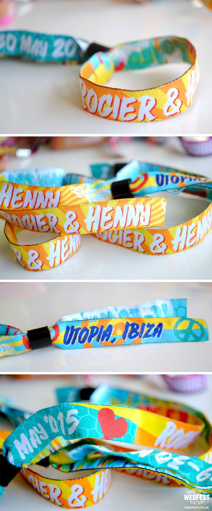 Ibiza Wedding Fabric Wristbands http://www.wedfest.co/custom-personalised-wristbands/