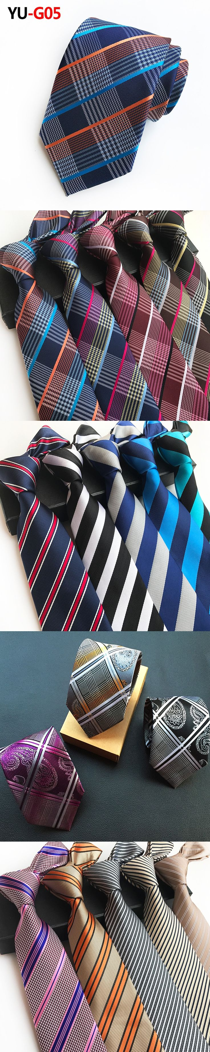 Mens Ties Silk New Design Plaid Triped Jacquard Woven Necktie Ties for Men Wedding Dress Formal Business Tie Slim Gravata 8cm