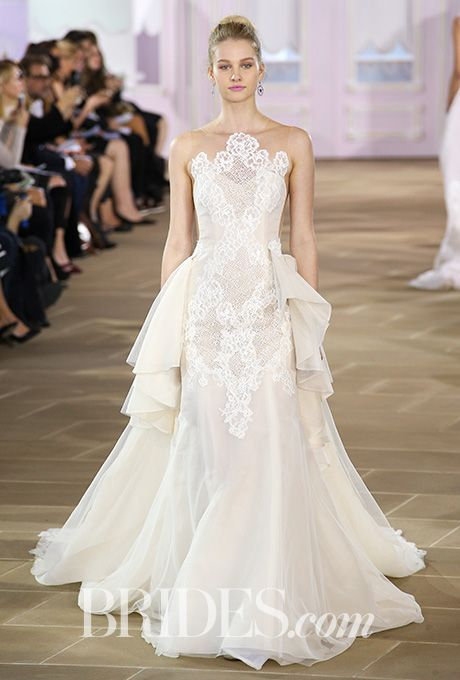 """Brides: Ines Di Santo - Fall 2017. """"Joie"""" organza trumpet wedding dress with Alencon lace and cross-hatch detail, Ines Di Santo"""
