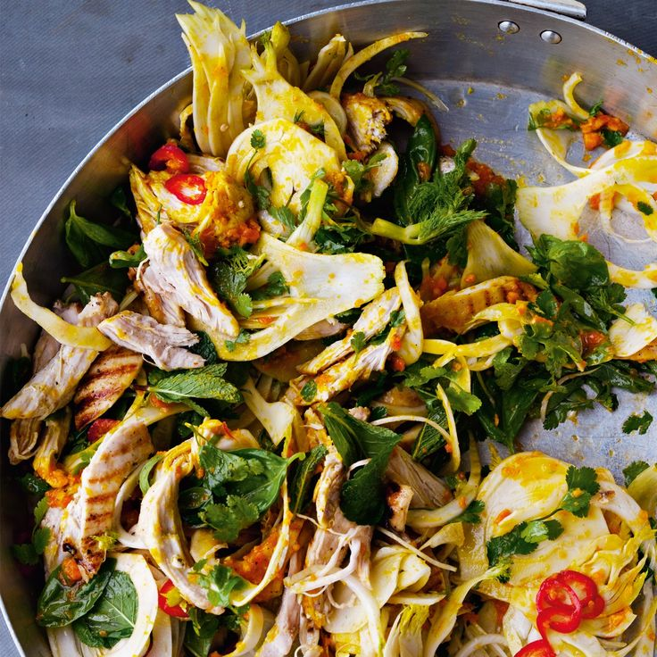 Saffron chicken and herb salad: This colourful salad is extraordinarily moist and refreshing. It was created by the chefs at Ottolenghi in Belgravia and is a big hit there. The trick — boiling a whole orange and blitzing it down to a paste — is very effective for many sauces, salsas and cakes. If you don't like fennel, replace it with a combination of spring onion and rocket.
