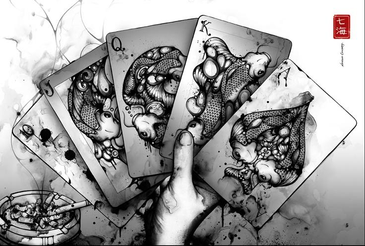 ...Artists, Ink Illustration, Nanami Cowdroy, Inspiration, Black And White, Royal Flush, Design, Plays Cards, Royalflush