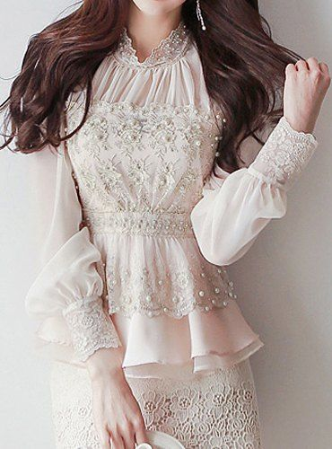 $24.56 Ladylike Stand-Up Collar Long Sleeve Lace Spliced Beaded Chiffon Blouse For Women
