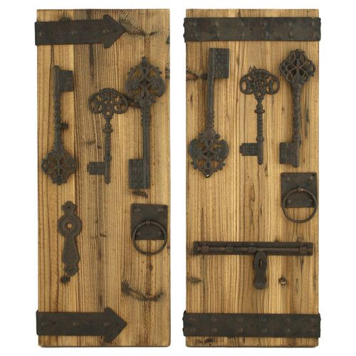 rustic wall decor aspire donovan 2 rustic key wall decor set 29895