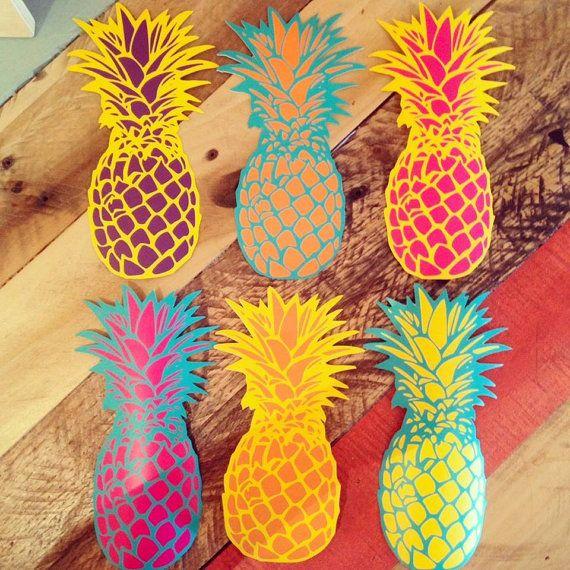Schöne Ananas-Sticker - Surfen und Insel inspiriert - mehrfarbig - Vinyl Kunst Aufkleber Wandaufkleber 3rdaveshore 133