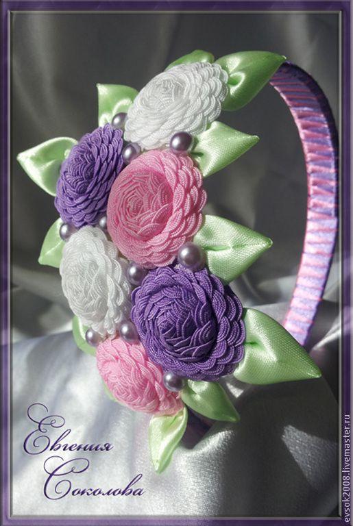 Купить Ободок с розочками. Нежность. - ободок с цветами, вьюнок, украшение для волос, атласные ленты