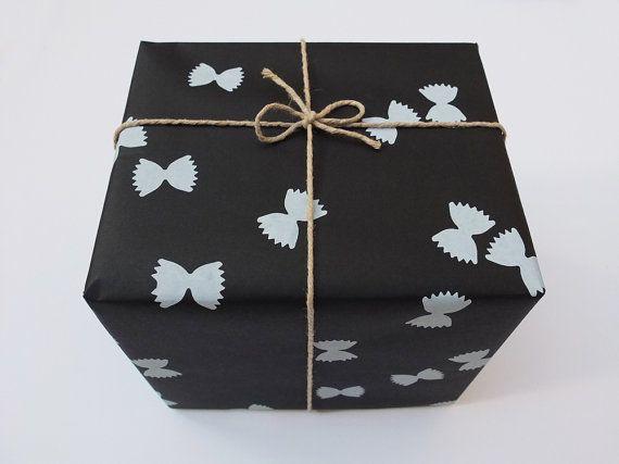 FARFALLE Handprinted Wrapping Paper black & by BombinaStudios, €3.50