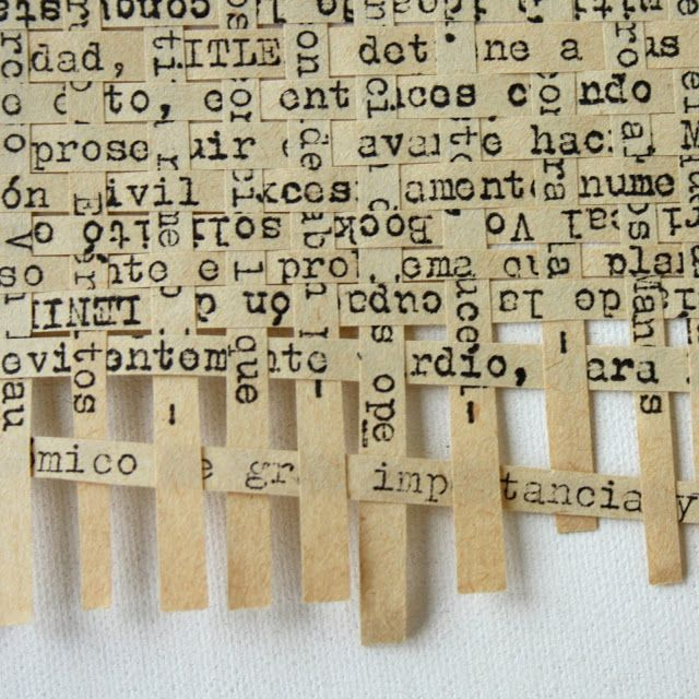 take small strips of book pages and weave together. could make a fun background for a photo frame
