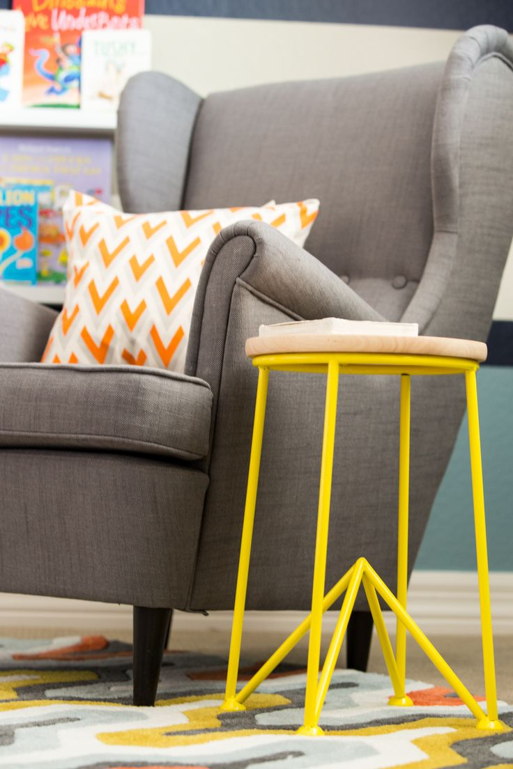 Adore this gray upholstered armchair from @IKEA USA paired with this bright yellow side table! #kidsroom #modern: Grey Bedrooms, Modern Kids, Kidsroom Modern, Ikea Chair, Bedrooms Decor, Girls Rooms, Girl Rooms, Ikea Kids, Big Boy Rooms