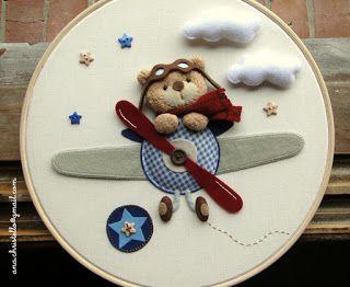 : Wall decor - bastidor - ursinho aviador