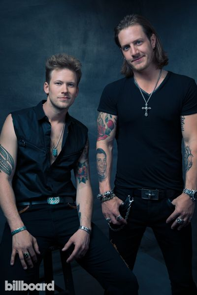 Florida Georgia Line's Brian Kelley and Tyler Hubbard photographed by Austin Hargrave on May 18th at The MGM Grand Garden Arena in Las Vegas.