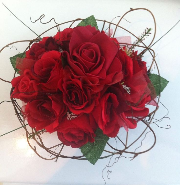 Artificial Red Roses And Twine Vintage Rustic Wedding Flowers Brides Bouquet