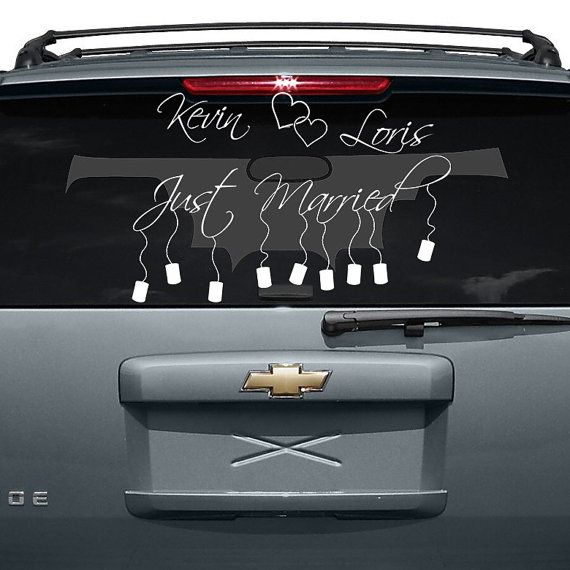 Custom personalized vinyl car decal design just married with names and cans sticker decals back window mirror free random decal gift