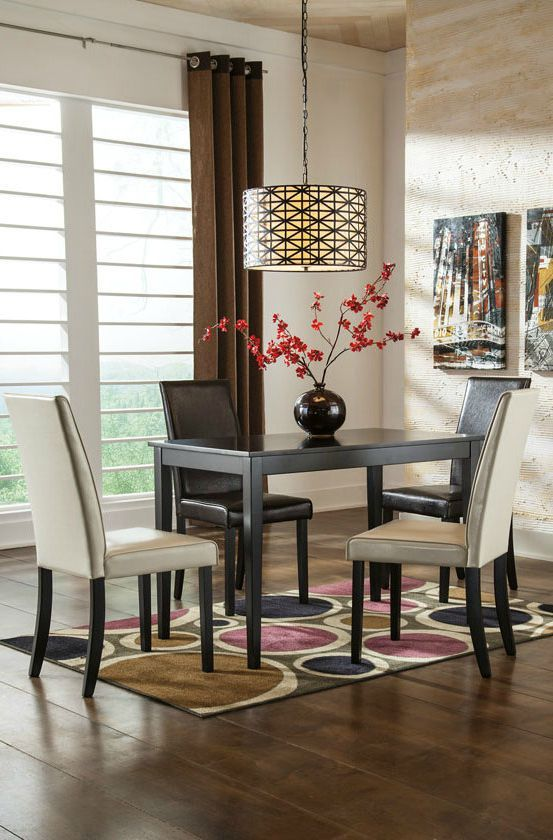 Get Your Kimonte Rectangular Table 4 UPH Side Chairs At Price Busters Furniture Baltimore MD Store