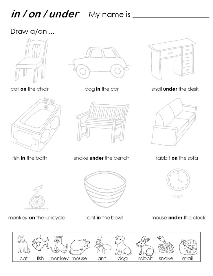 prepositions on-under printables - Google Search