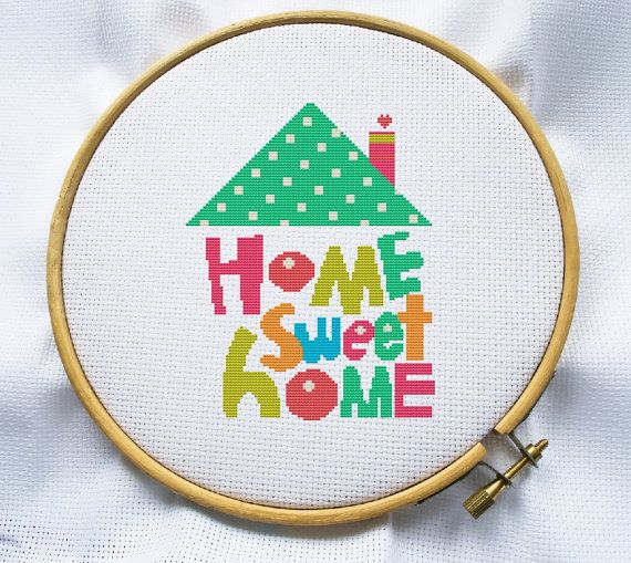 Counted cross stitch pattern, Instant Download, Free shipping, Cross Stitch PDF, Home sweet Home