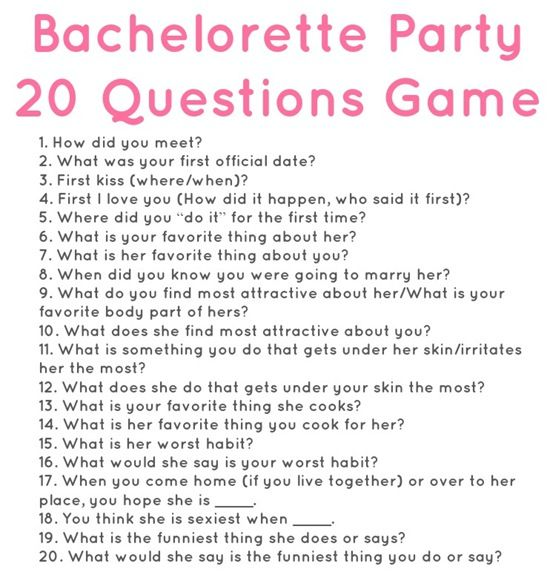 20 questions for a bachelorette party. So fun! via Meals & Moves.