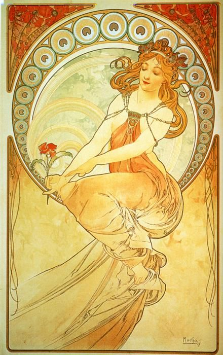 """Painting - From """"The Arts"""" Series - Alphonse Mucha - c. 1898 one of my favorite artists"""