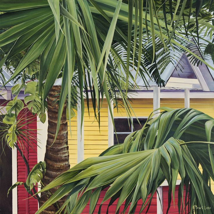 """Key West Cabana"" I loved the palm fronds in front of this cottage in Key West. Their imperfect folds and bends were attractive. fineartbymonti.com"