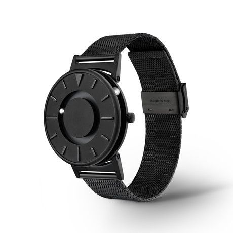 "Bradley // BlackEone's line of unique, luxury watches, which can be read by the visually impaired, is inspired by Bradley Snyder, an ex naval-officer who lost his eyesight in Afghanistan. The minimalist face of The Bradley Black features raised markers at each hour. To increase tactile legibility, there is a triangular marker indicating ""12"", and elongated markers for ""3"", ""6"", and ""9""."