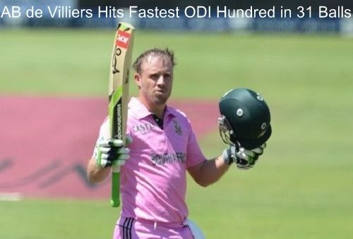 AB de Villiers breaks Corey Anderson's fastest ODI hundred record of 36 balls. De Villiers scored fast ton in 31 balls against West Indies at Johannesburg.