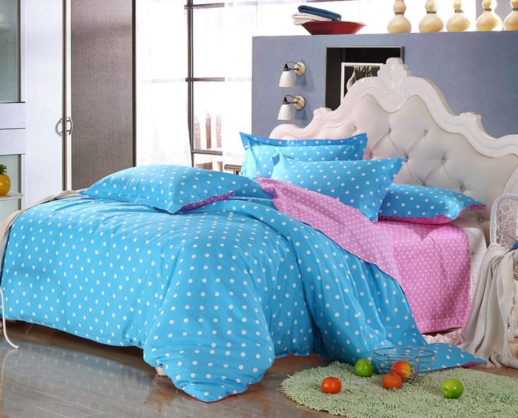 Постельных принадлежностей домашнего текстиля 100% хлопок 4 шт. синяя точка покрывало розовая простыня комплект пододеяльник чехол рождество