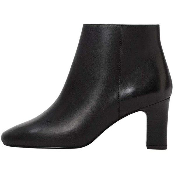 MANGO Heel leather ankle boot ($50) ❤ liked on Polyvore featuring shoes, boots, ankle booties, black, chunky heel booties, black leather ankle booties, black leather booties, leather booties and short black boots