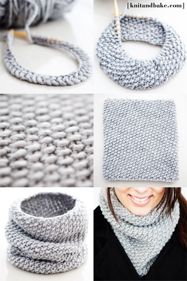 Free knitting pattern for a super simple, easy to knit seed stitch cowl. It uses one skein of yarn, and can be knitted up in one night!