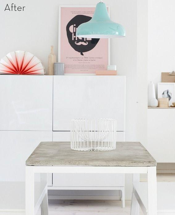 IKEA HACK: Melltorp table + concrete top!    credit: Riikka Kantinkoski [http://weekdaycarnival.blogspot.se/2012/10/diy-concrete-table.html]